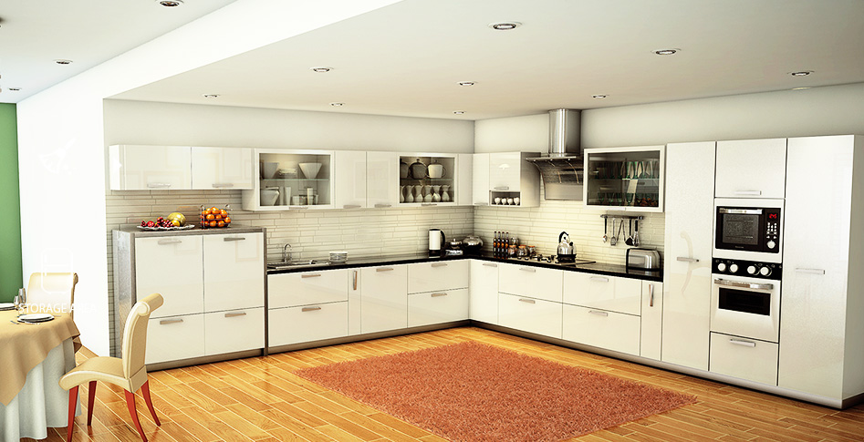 Modular kitchen for L shaped kitchen design ideas india